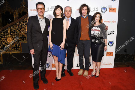 Fred Armisen, from left, Carrie Brownstein, Lorne Michaels, Jonathan Krisel, and Jennifer Caserta, arrive at Portlandia Season 5 Premiere Presented by Bulleit Bourbon at The Theatre at Ace Hotel in Los Angeles. The IFC comedy's fifth season, beginning Thursday, Jan. 8, features guest stars including Paul Simon and Steve Buscemi