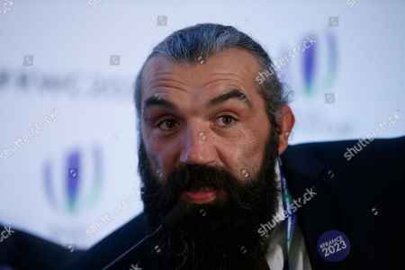 Retired Rugby player, Sebastien Chabal, France 2023 leader and bid Ambassador speaks during a TV interview, after France were announced as winners of the right to host the Rugby World Cup in 2023, at a hotel in London, . France will host the Rugby World Cup in 2023, a year before the Olympic Games in Paris, after surprisingly beating South Africa and Ireland in a vote on Wednesday