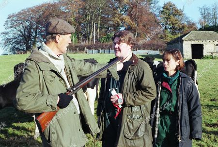 Ep 2307 Wednesday 7th January 1998 Paddy and Zoe discover some neglected cattle and are confronted by angry farmer Outhwaite brandishing a shotgun - With Paddy Kirk, as played by Dominic Brunt ; Zoe Tate, as played by Leah Bracknell ; Jed Outhwaite, as played by Tony Melody.