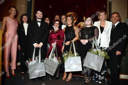 Arizona Muse, Theo Fennell, Susan Farmer, Solange Azagury-Patridge, Shaun Leane, Carol Woolton, Stephen Webster with winners Mollie Rose Hemming, Louis Browning and Katherine Anderson