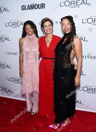 Stock Picture of Halle Bailey, Cindi Leive, Chloe Bailey. Halle Bailey, left, Cindi Leive and Chloe Bailey attend the 2017 Glamour Women of the Year Awards at Kings Theatre, in New York