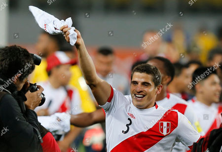 Peru's Aldo Corzo celebrates after his team defeated New Zealand 2-0 in a play-off qualifying match for the 2018 Russian World Cup in Lima, Peru
