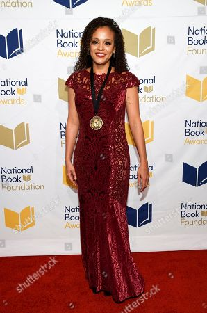 """Writer Jesmyn Ward attends the 68th National Book Awards Ceremony and Benefit Dinner at Cipriani Wall Street, in New York. Ward's """"Sing, Unburied, Sing,"""" a surreal and poetic novel about a struggling family in Mississippi, on Wednesday night won the National Book Award for fiction"""