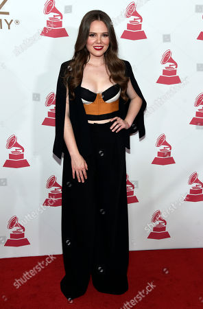 Joy Huerta, of Jesse & Joy, arrives at the Latin Recording Academy Person of the Year tribute honoring Alejandro Sanz at the Mandalay Bay Convention Center, in Las Vegas