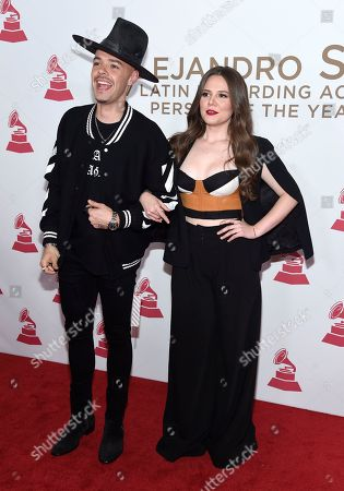 Jesse Huerta, Joy Huerta. Jesse Huerta, left, and Joy Huerta, of Jesse & Joy, arrive at the Latin Recording Academy Person of the Year tribute honoring Alejandro Sanz at the Mandalay Bay Convention Center, in Las Vegas