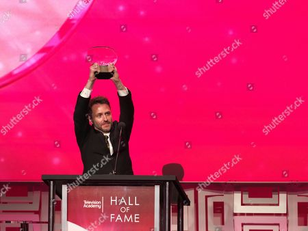 Chris Hardwick inducts Joan Rivers at the 24th Television Academy Hall of Fame on at the Television Academy's Saban Media Center in North Hollywood, Calif