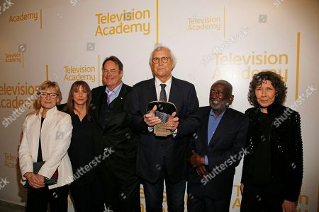 Jane Curtin, Laraine Newman, Dan Aykroyd, Chevy Chase, Garrett Morris, Lily Tomlin. Jane Curtin, from left, Laraine Newman, Dan Aykroyd, Chevy Chase, Garrett Morris, and Lily Tomlin attend the 24th Television Academy Hall of Fame on at the Television Academy's Saban Media Center in North Hollywood, Calif