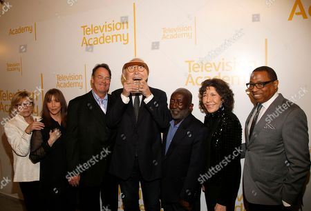 Jane Curtin, Laraine Newman, Dan Aykroyd, Chevy Chase, Garrett Morris, Lily Tomlin, Hayma Washington. Jane Curtin, from left, Laraine Newman, Dan Aykroyd, Chevy Chase, Garrett Morris, Lily Tomlin, and Hayma Washington, Chairman and CEO of the Television Academy, attend the 24th Television Academy Hall of Fame on at the Television Academy's Saban Media Center in North Hollywood, Calif