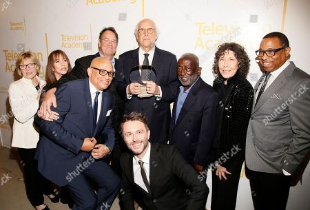 Jane Curtin, Laraine Newman, Dan Aykroyd, Larry Wilmore, Chevy Chase, Chris Hardwick, Garrett Morris, Lily Tomlin, Hayma Washington. Jane Curtin, from left, Laraine Newman, Dan Aykroyd, Larry Wilmore, Chevy Chase, Chris Hardwick, Garrett Morris, Lily Tomlin, and Hayma Washington, Chairman and CEO of the Television Academy, attend the 24th Television Academy Hall of Fame on at the Television Academy's Saban Media Center in North Hollywood, Calif