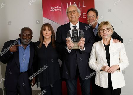 Garrett Morris, Laraine Newman, Chevy Chase, Dan Aykroyd, Jane Curtin. Garrett Morris, from left, Laraine Newman, Chevy Chase, Dan Aykroyd, and Jane Curtin attend the 24th Television Academy Hall of Fame on at the Television Academy's Saban Media Center in North Hollywood, Calif