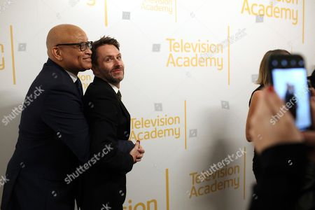 Larry Wilmore, Chris Hardwick. Larry Wilmore, left, and Chris Hardwick attend the 24th Television Academy Hall of Fame on at the Television Academy's Saban Media Center in North Hollywood, Calif