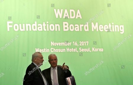 Stock Image of Craig Reedie, Richard Pound. World Anti-Doping Agency (WADA) President Craig Reedie, right, talks with IOC member Richard Pound from Canada before the start of the WADA's foundation board meeting in Seoul, South Korea, . The WADA holds its executive committee and foundation board meeting for three days in the country which will host the 2018 Olympic and Paralympic Winter Games held in February 2018