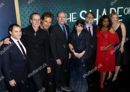"""Michael Stuhlbarg, Doug Jones, Michael Shannon, Richard Jenkins, Sally Hawkins, Guillermo del Toro, Octavia Spencer, Vanessa Taylor. Michael Stuhlbarg, from left, Doug Jones, Michael Shannon, Richard Jenkins, Sally Hawkins, director Guillermo del Toro, Octavia Spencer and screenwriter Vanessa Taylor arrive at the LA Premiere of """"The Shape of Water"""" at the Academy of Motion Picture Arts and Sciences, in Beverly Hills, Calif"""