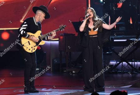 "Stock Photo of Jesse Huerta, Joy Huerta. Jesse Huerta, left, and Joy Huerta, of Jesse & Joy, perform ""Siempre Es De Noche"" at the Latin Recording Academy Person of the Year tribute honoring Alejandro Sanz at the Mandalay Bay Convention Center, in Las Vegas"