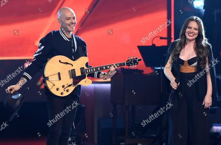 "Stock Image of Jesse Huerta, Joy Huerta. Jesse Huerta, left, and Joy Huerta, of Jesse & Joy, perform ""Siempre Es De Noche"" at the Latin Recording Academy Person of the Year tribute honoring Alejandro Sanz at the Mandalay Bay Convention Center, in Las Vegas"