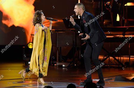 "Natalia Lafourcade, Manuel Medrano. Natalia Lafourcade, left, and Manuel Medrano perform ""No Es Lo Mismo"" at the Latin Recording Academy Person of the Year tribute honoring Alejandro Sanz at the Mandalay Bay Convention Center, in Las Vegas"