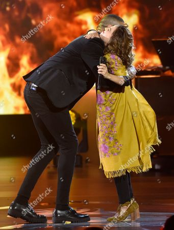 """Stock Photo of Natalia LaFourcade, Manuel Medrano. Natalia LaFourcade, right, and Manuel Medrano perform """"No Es Lo Mismo"""" at the Latin Recording Academy Person of the Year tribute honoring Alejandro Sanz at the Mandalay Bay Convention Center, in Las Vegas"""