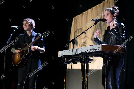 Tegan Quin and Sara Quin of indie pop band Tegan and Sara perform on The Con X: Tour at the Paramount Theater