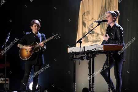 Editorial picture of Tegan and Sara in concert at the Paramount Theatre, Austin, USA - 15 Nov 2017