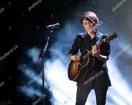 Tegan Quin of indie pop band Tegan and Sara performs on The Con X: Tour at the Paramount Theater