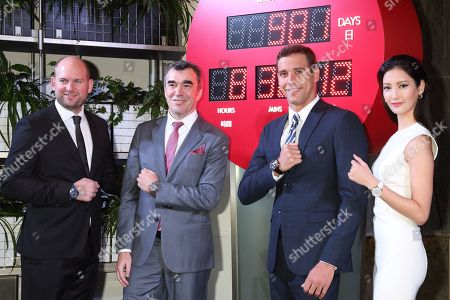 Stock Image of (L-R) Omega Timing CEO,Alain Zobrist, the Swatch Group Japan president, Christophe Savioz, South Africa swimmer, OMEGA Ambassador, Chad le Clos, Japanese actress Nanao Arai