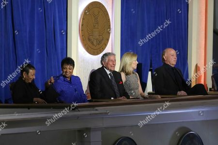 Carla Hayden, Tony Bennett, Susan Crow, Danny Bennett. Librarian of Congress Carla Hayden, 2nd left, singer/honoree Tony Bennett, Susan Crow and Danny Bennett attend the 2017 Gershwin Prize Honoree's Tribute Concert at the DAR Constitution Hall on in Washington