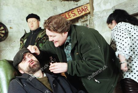 Ep 2321 Tuesday 10th February 1998 Knocked unconscious by Lord Alex's men during a diamond heist, Zak's cut head is treated by Paddy - With Paddy Kirk, as played by Dominic Brunt ; Zak Dingle, as played by Steve Halliwell ; Butch Dingle, as played by Paul Loughran ; Mandy Dingle, as played by Lisa Riley.