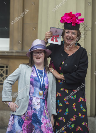 The Hon Rosa Monckton was awarded an MBE for her Work with young people with disabilities. With her daughter Domenica.