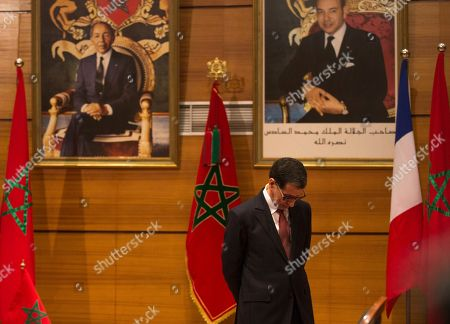 Morocco's Prime Minister Saad-Eddine El Othmani, pauses during a meeting with his French counterpart Edouard Philippe in Rabat, Morocco, . Philippe is in Morocco to try to reinvigorate trade with the North African kingdom, as the former French protectorate increasingly positions itself as an economic pillar of Africa