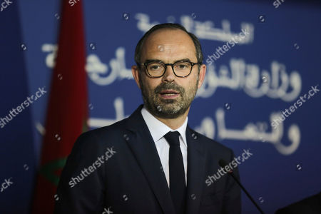 French Prime Minister Edouard Philippe speaks during a press conference with his Moroccan counterpart Saad-Eddine El Othmani, in Rabat, Morocco, . Philippe is in Morocco to try to reinvigorate trade with the North African kingdom, as the former French protectorate increasingly positions itself as an economic pillar of Africa