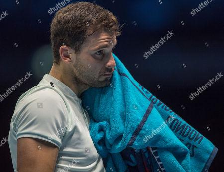 Grigor Dimitrov (BUL) during his final Group Pete Sampras match with Pablo Carreno Busta (ESP).  Dimitrov won the match in straight sets. Nitto ATP Finals Tennis Championships, O2 Arena London, England,16th November 2017.