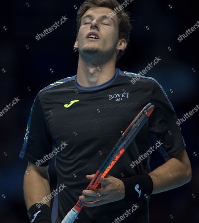 Pablo Carreno Busta (ESP) shows disappointment during his final Group Pete Sampras match with Grigor Dimitrov (BUL).  Dimitrov won the match in straight sets. Nitto ATP Finals Tennis Championships, O2 Arena London, England,16th November 2017.