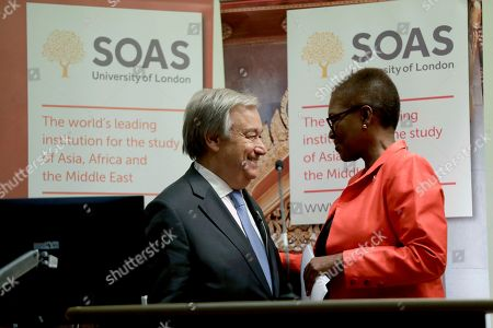 "Secretary General of the United Nations Antonio Guterres is embraced by his host, the Director of SOAS, Baroness Valerie Amos as he arrives to deliver a lecture ""Counter-terrorism and human rights: winning the fight while upholding our values"" at the School of Oriental and African Studies, University of London in London"