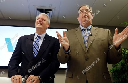 Stock Photo of Brian Baird, Chris Vance. Former Democratic Congressman, Brian Baird, left, and former Republican State Representative Chris Vance, speak at a news conference, in Seattle. They announced the launch of a new effort to promote independent, centrist-minded politicians in Washington state. The move is part of a national movement to curb partisanship