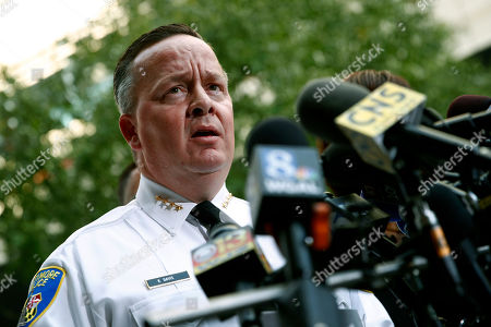 Baltimore Police Department Commissioner Kevin Davis speaks at a news conference outside the R Adams Cowley Shock Trauma Center in Baltimore, to announce the death of Det. Sean Suiter. Suiter was shot in the head Wednesday while working in a troubled area of the city grappling with high crime rates