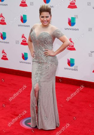 Carmen Jara arrives at the 18th annual Latin Grammy Awards at the MGM Grand Garden Arena, in Las Vegas