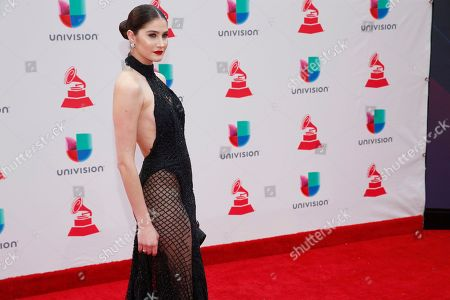 Mariam Habach arrives at the 18th annual Latin Grammy Awards at the MGM Grand Garden Arena, in Las Vegas