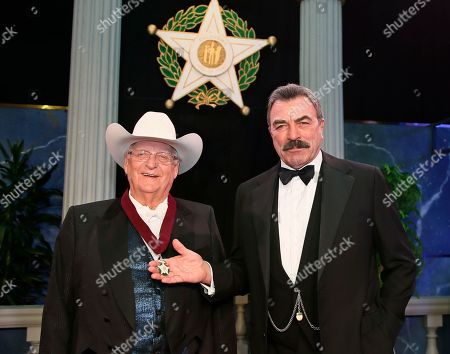 Stock Picture of Bob Funk, Tom Selleck. Oklahoma Hall of Fame Inductee Bob Funk, left, is pictured with his presenter Tom Select, right, in Oklahoma City
