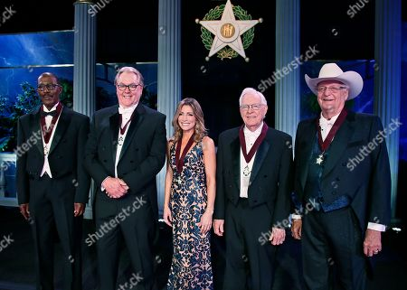 Tom Colbert, Hal Smith, Shannon Miller, Phil Parduhn, Bob Funk. Members of the 2017 Oklahoma Hall of Fame class are pictured, in Oklahoma City. From left are, Justice Tom Colbert, Hal Smith, Shannon Miller, Phil Parduhn and Bob Funk. Not pictured, Congressman Tom Cole