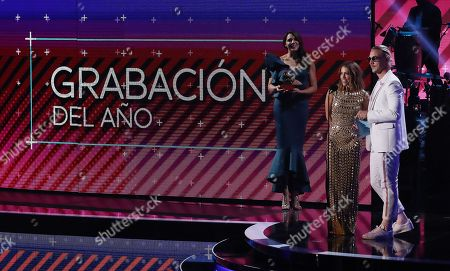 Diplo (R) and Debi Nova (2R) present Record of the Year during the 18th Annual Latin Grammy Awards at the MGM Grand Garden Arena in Las Vegas, Nevada, USA, 16 November 2017. Latin Grammy Awards recognize artistic and/or technical achievement, not sales figures or chart positions, and the winners are determined by the votes of their peers-the qualified voting members of the academy.
