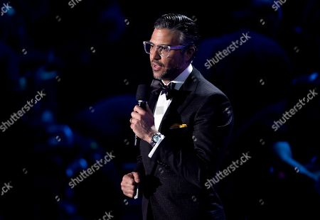 Host Jamie Camil speaks at the 18th annual Latin Grammy Awards at the MGM Grand Garden Arena, in Las Vegas