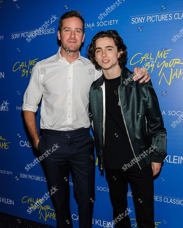 "Stock Photo of Armie Hammer, left, and Timothy Chalamet attend a special screening of ""Call Me By Your Name"", hosted by Sony Pictures Classics and The Cinema Society, at the Museum of Modern Art, in New York"