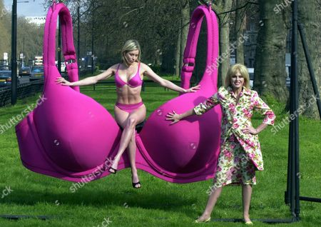 Joanna Lumley And Model Ami Veevers Chorlton Help Marks And Spencer In The Search For The Perfect Bra In A Massive Bra Swing On Park Lane