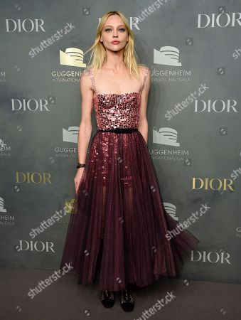 Sasha Pivovarova attends the 2017 Guggenheim International Gala, hosted by Dior, at the Guggenheim Museum, in New York