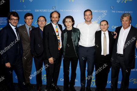 Stock Photo of Rodrigo Teixeira, Peter Spears, Micahel Barker (Co-Pres SPC), Luca Guadagnino (Director), Timothee Chalamet, Armie Hammer, Michael Stulbarg, Tom Bernard (Co-Pres SPC)