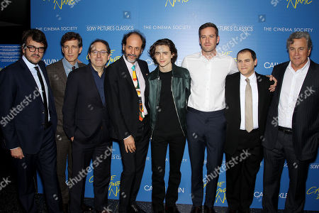 Rodrigo Teixeira, Peter Spears, Micahel Barker (Co-Pres SPC), Luca Guadagnino (Director), Timothee Chalamet, Armie Hammer, Michael Stulbarg, Tom Bernard (Co-Pres SPC)