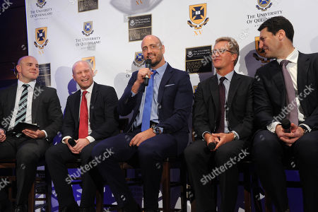 Stock Picture of Iconic Australian rugby players Stephen Moore, Tim Usasz, Nathan Sharpe, Michael Lynagh and John Eales, left to right, speak at the University of Queensland Rugby Inaugural Benefit Dinner, at the Manhattan Club in New York. The dinner announced the Mark Loane Medal which will recognize an outstanding U.S. rugby scholar and offer a chance for them to play at University of Queensland