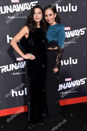 "Nicole Wolf, Cheryl Burke. Nicole Wolf, left, and Cheryl Burke attend the LA Premiere of ""Runaways"" at the Regency Bruin Theatre, in Los Angeles"