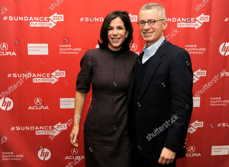 "Alexandra Pelosi, left, director of HBO Documentary Films' ""Fall to Grace,"" poses with the film's subject, former New Jersey Governor Jim McGreevey, at a screening of the film at the 2013 Sundance Film Festival, in Park City, Utah"
