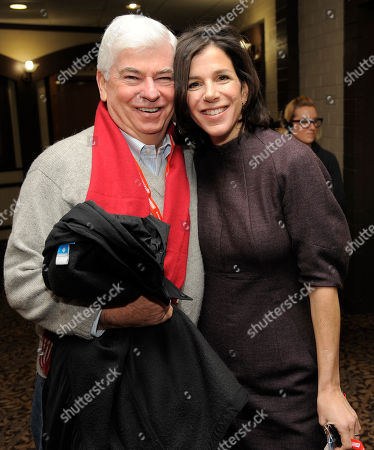 "Christopher Dodd, left, chairman and CEO of the Motion Picture Association of America, poses with Alexandra Pelosi, director of HBO Documentary Films' ""Fall to Grace,"" before a screening of the film at the 2013 Sundance Film Festival, in Park City, Utah"